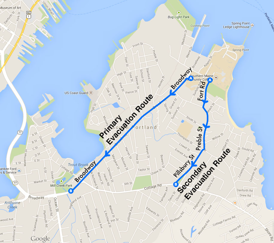 South Portland Evacuation Map